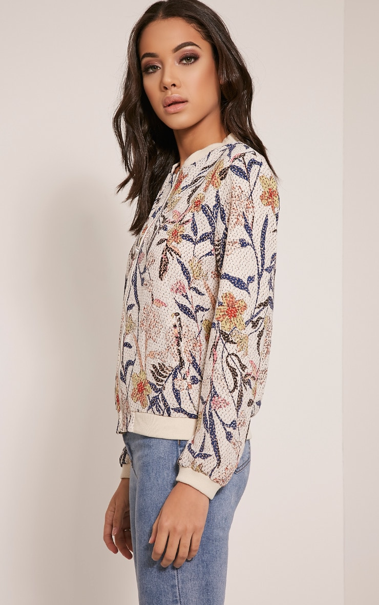 Danyelle Beige Floral Abstract Printed Bomber Jacket 4