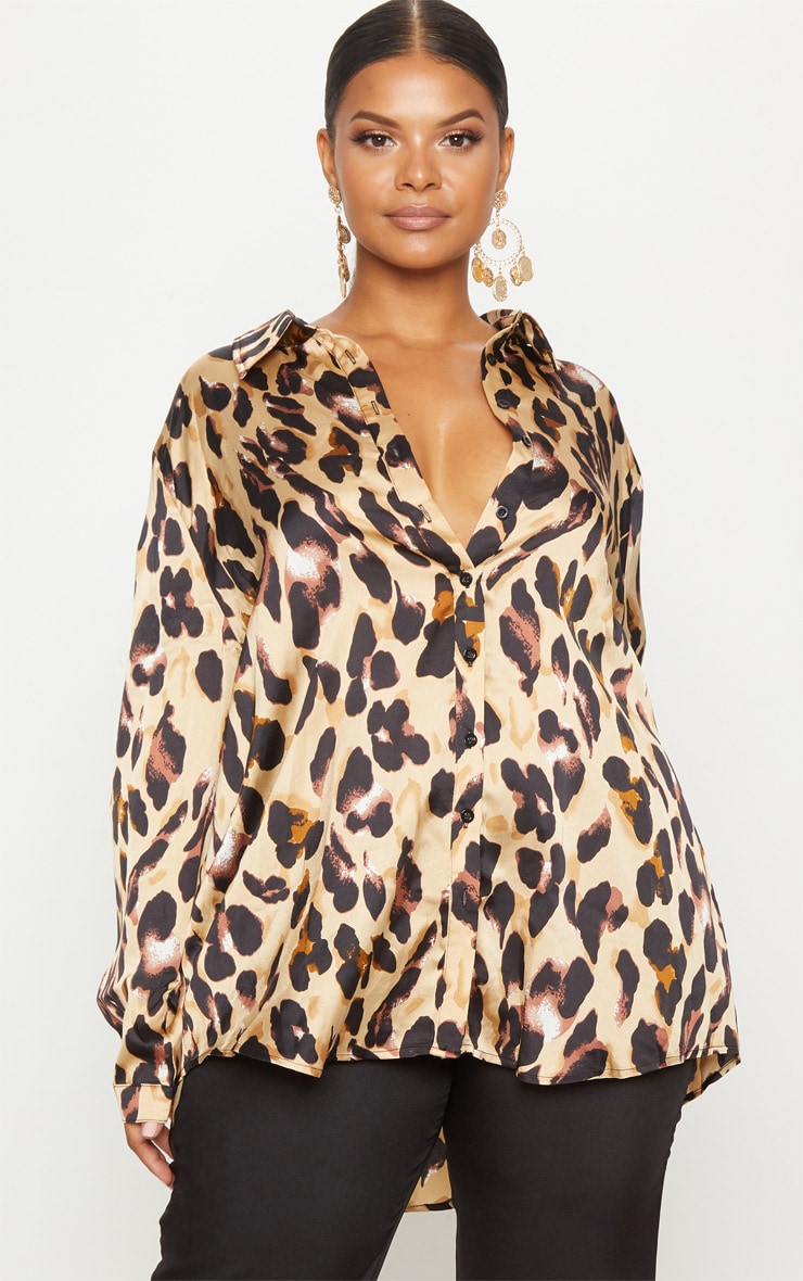 Plus Brown Leopard Print Oversized Shirt 4