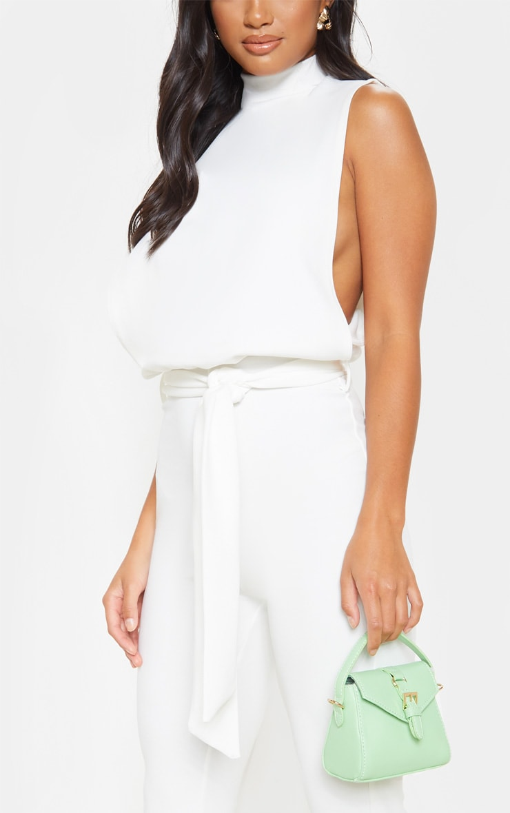 Petite White Scuba High Neck Tie Waist Jumpsuit  4