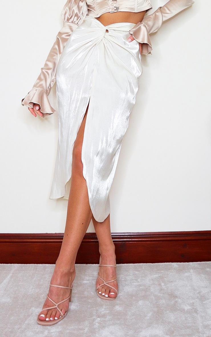 Cream Satin Shimmer Twist Front Midi Skirt 2