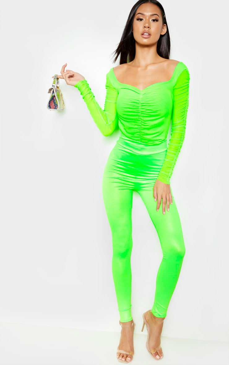 Neon Lime Mesh Ruched Detail Long Sleeve Bodysuit 5