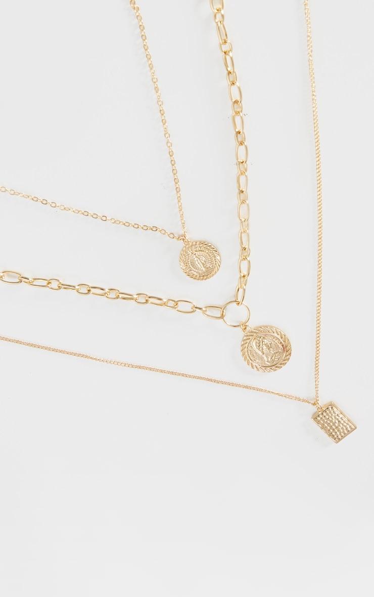 Gold Multi Pendant Layering Necklace 3