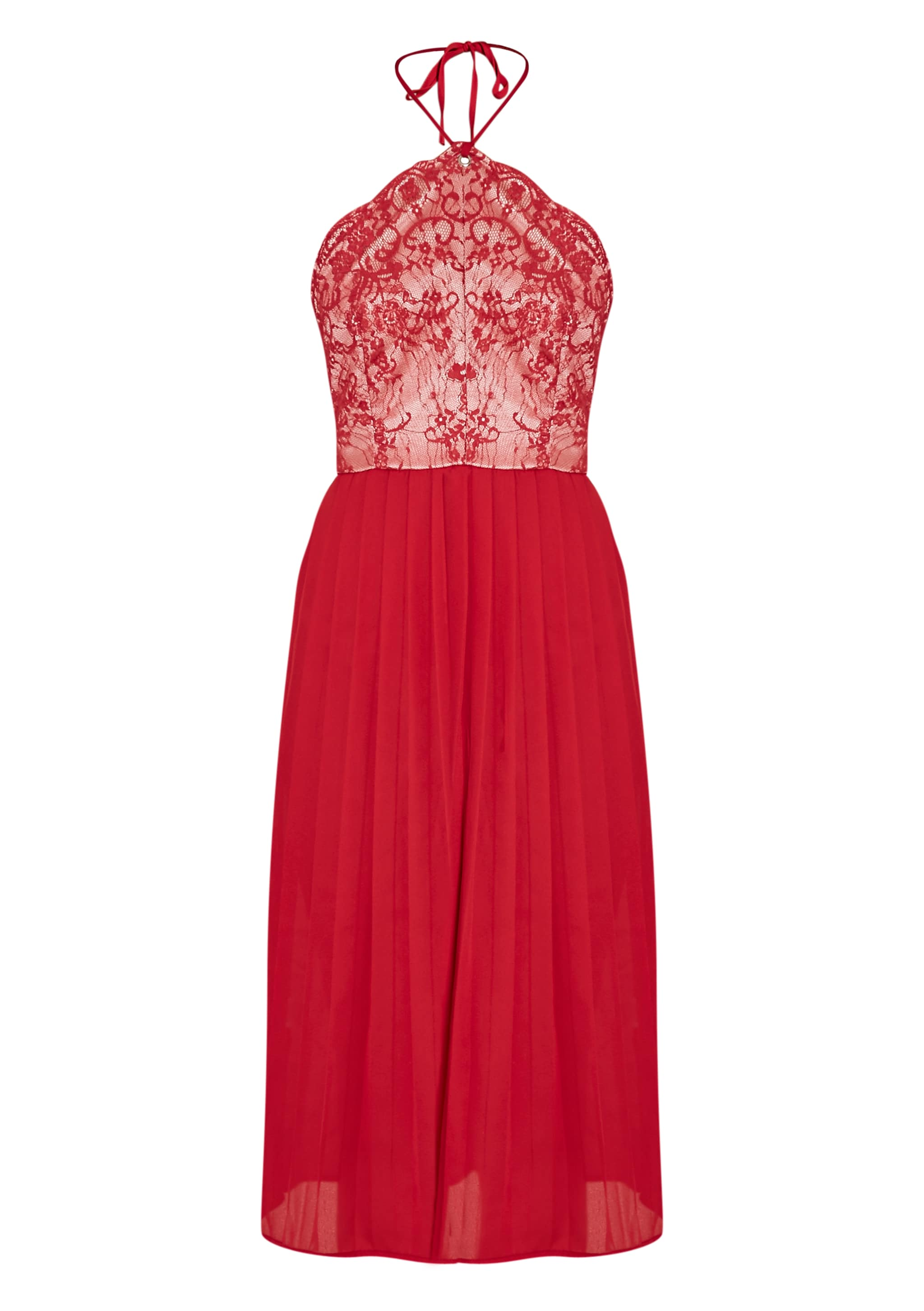Cristabel Red Lace Halterneck Pleated Midi Dress 3