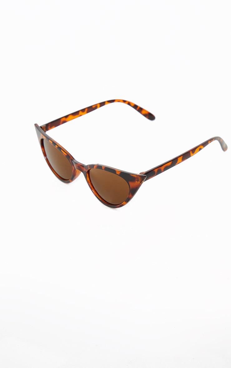 Brown Tortoiseshell Extreme Cat Eye Retro Sunglasses 2