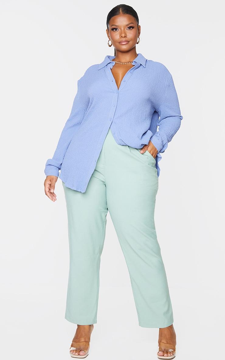 Plus Blue Textured Oversized Shirt 1