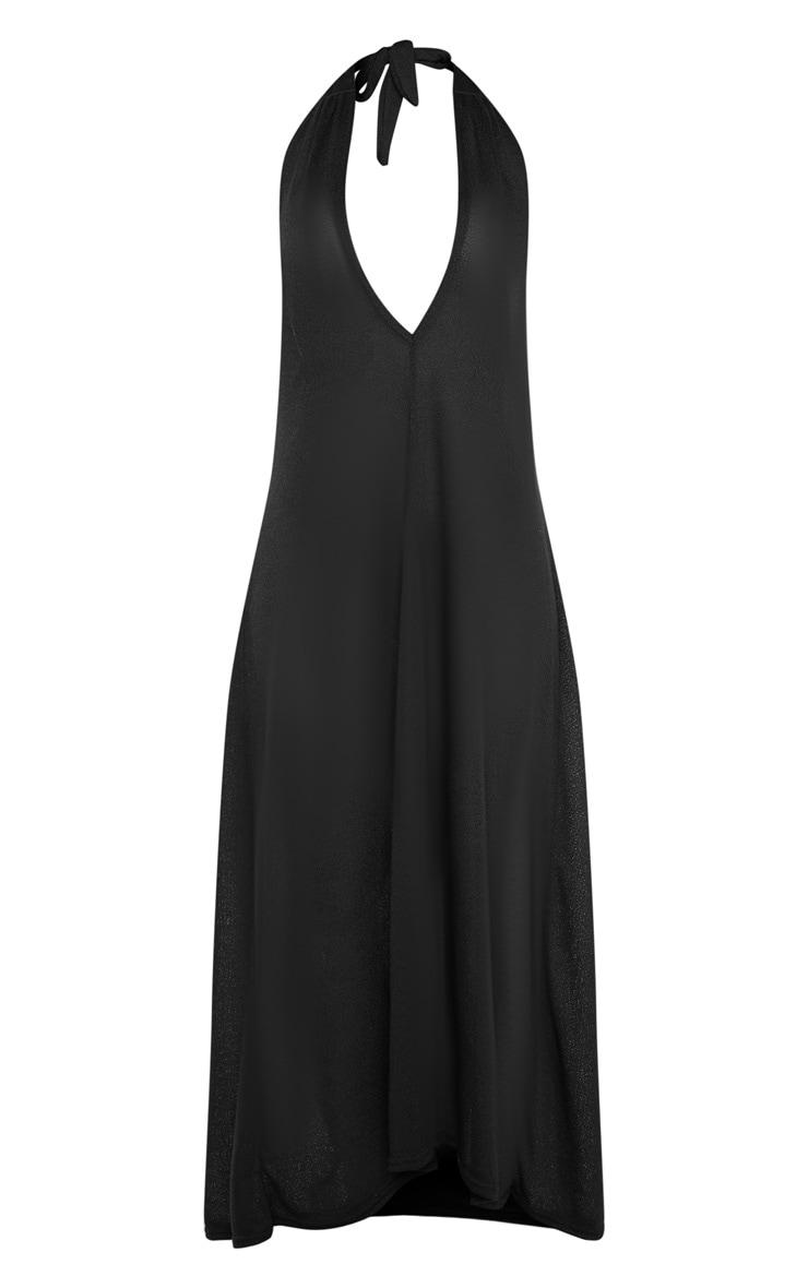 Black Lightweight Knit Halterneck Beach Dress 6