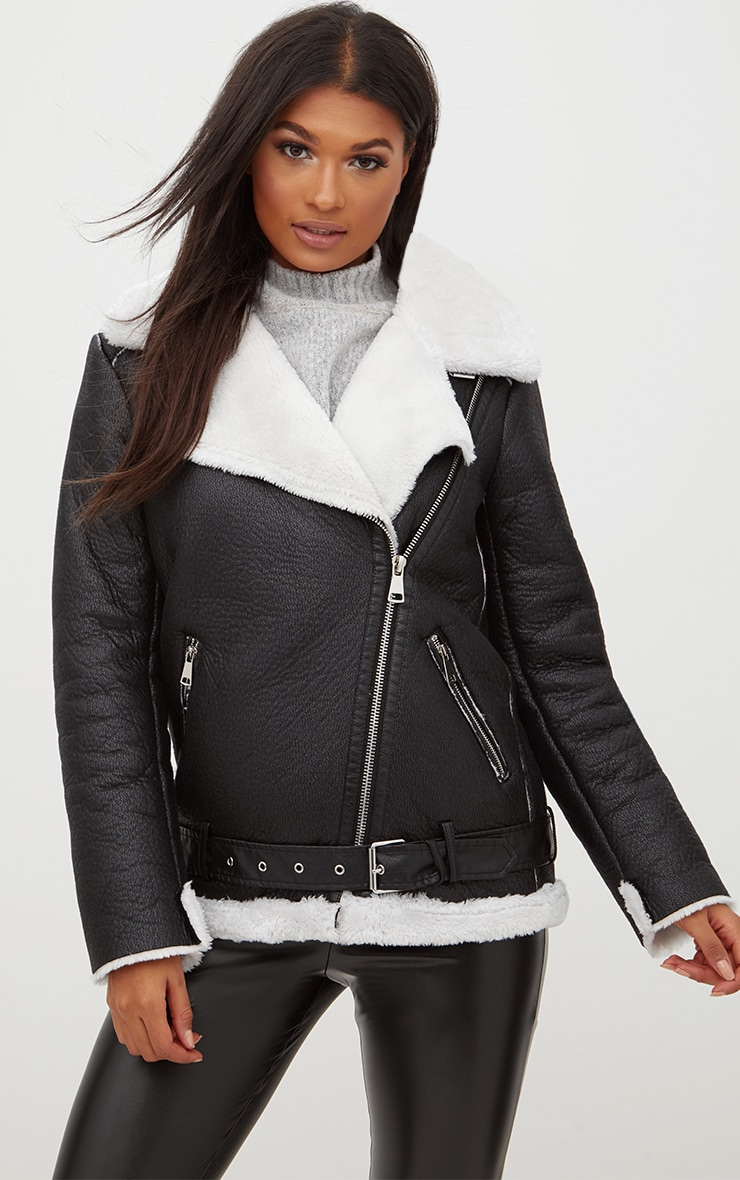 Black Contrast Faux Fur PU Aviator Jacket 1