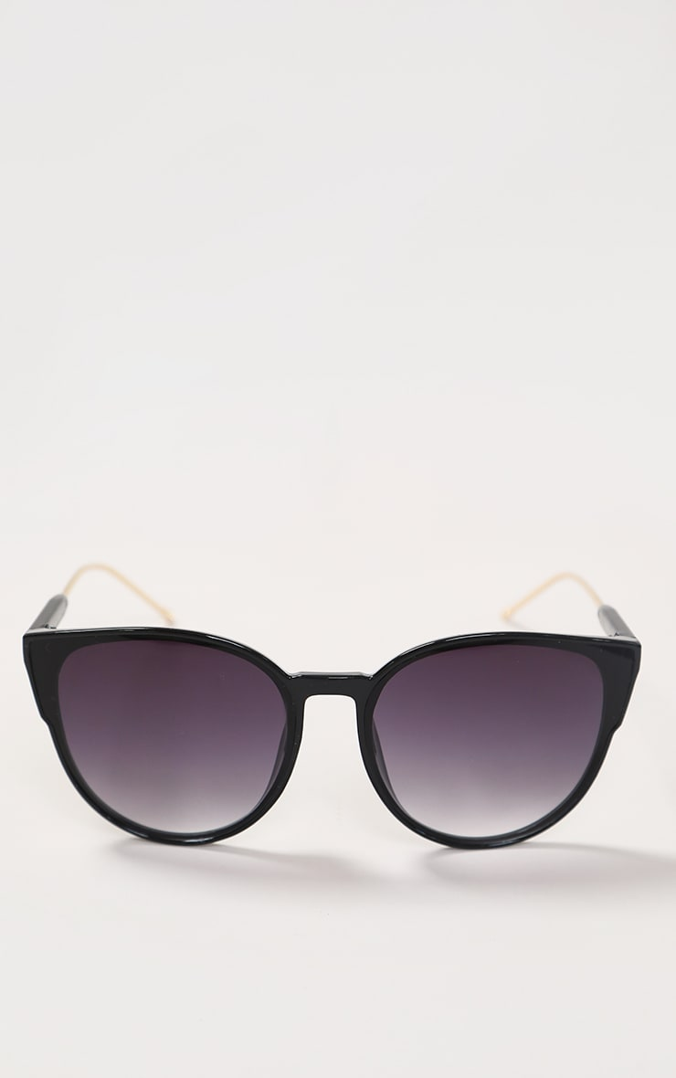 Black Sleek Oversized Cat Eye Sunglasses 2