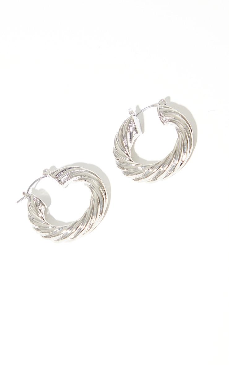 Silver Chunky Ribbed Twist Hoop Earrings 2