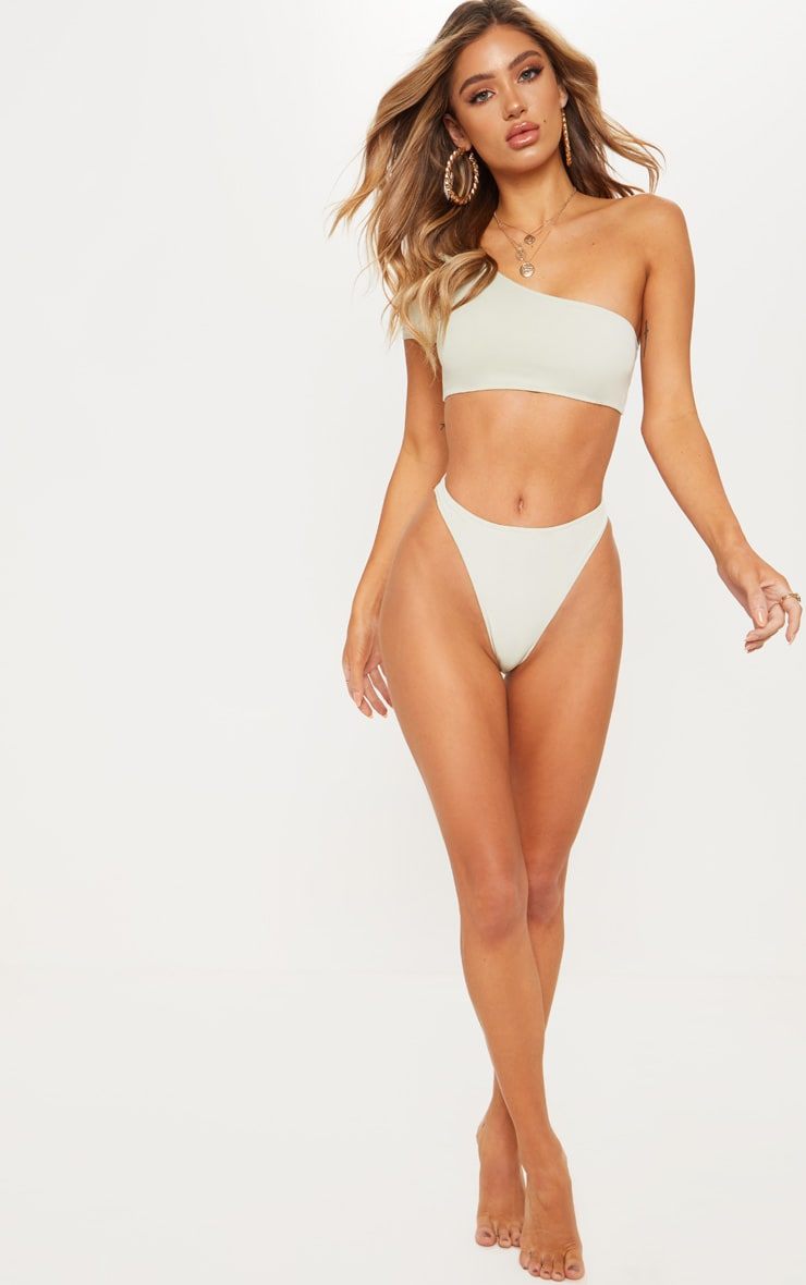 Sage Green High Leg Cheeky Bikini Bottom 6