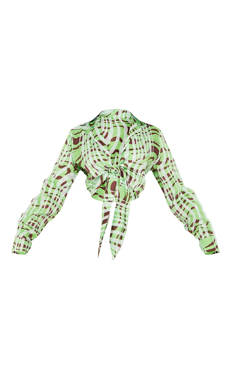 Lime Abstract Marble Print Sheer Tie Front Crop Shirt 5