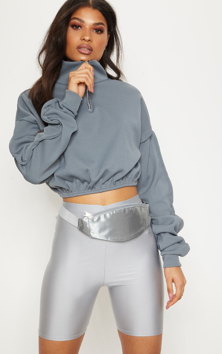 Light Grey Satin Bum Bag