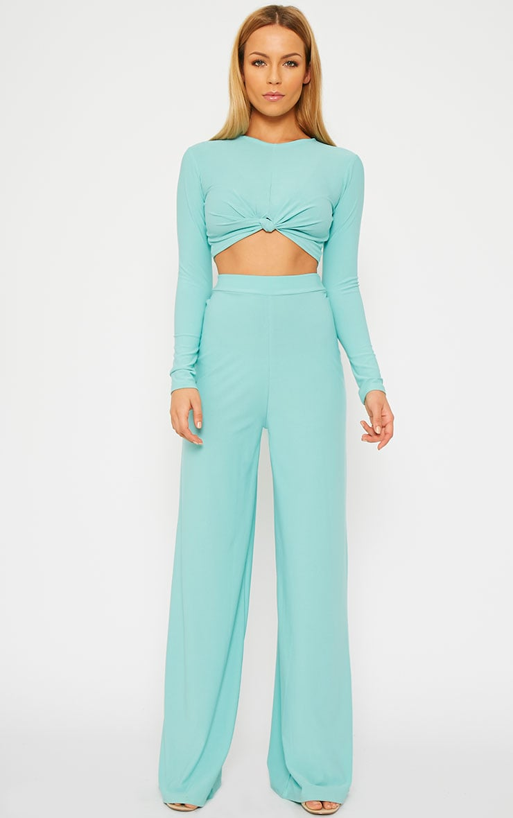 Zafia Mint Crepe Palazzo Trousers 1