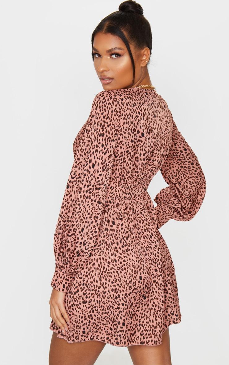 Pink Leopard Print V Neck Long Sleeve Shift Dress 2