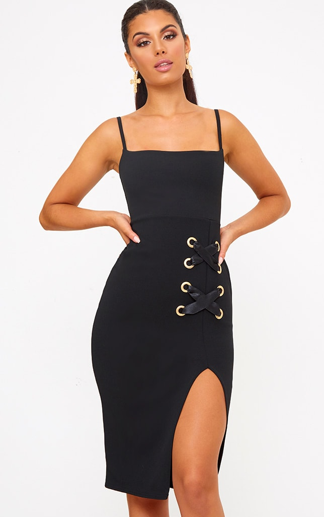 Black Eyelet Satin Lace Up Detail Midi Dress 1