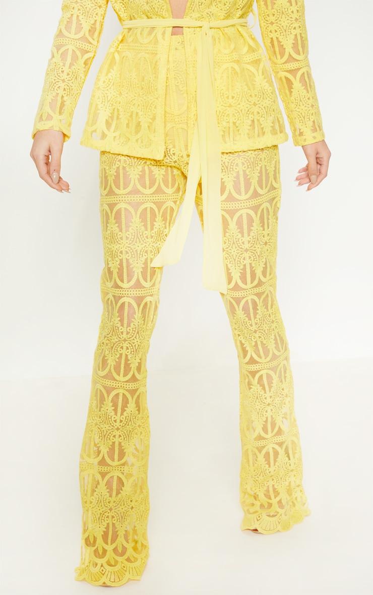 Bright Yellow Sheer Insert Wide Leg Pants 2
