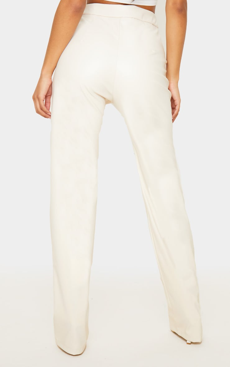 Cream Pocket Detail Faux Leather Straight Leg Trouser 4
