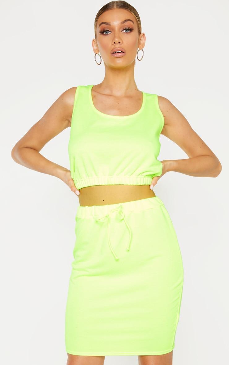 Tall - Jupe moulante en sweat vert citron fluo à cordons 1