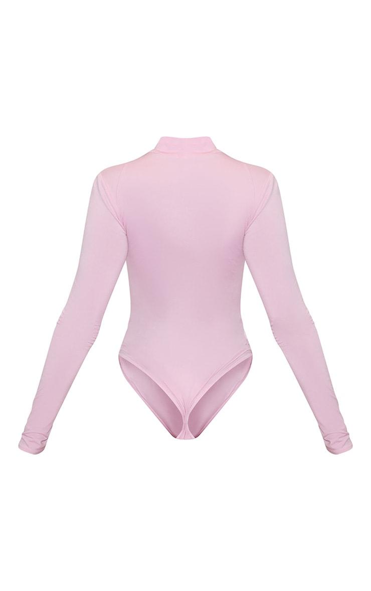 Go Girl High Neck Long Sleeve Bodysuit Baby Pink 4
