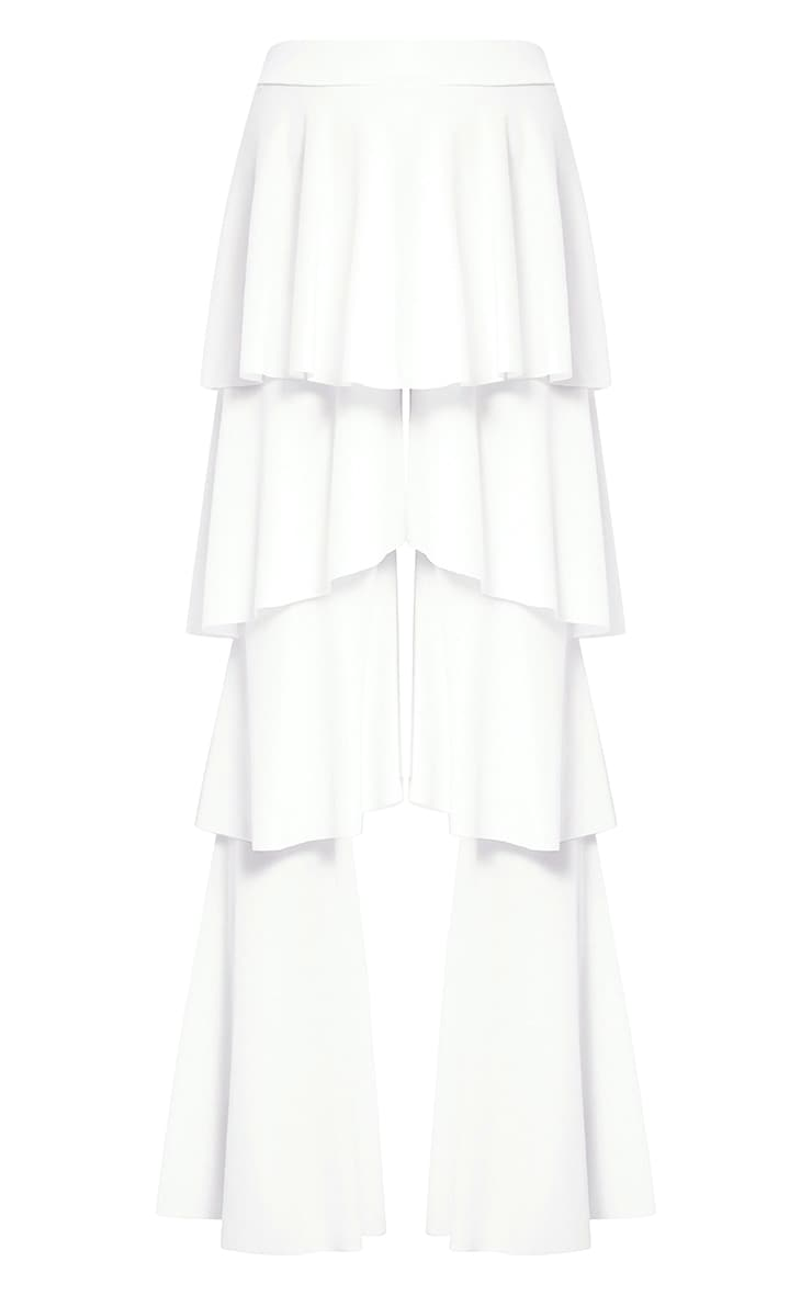 White Tiered Frill Wide Leg Trousers 3