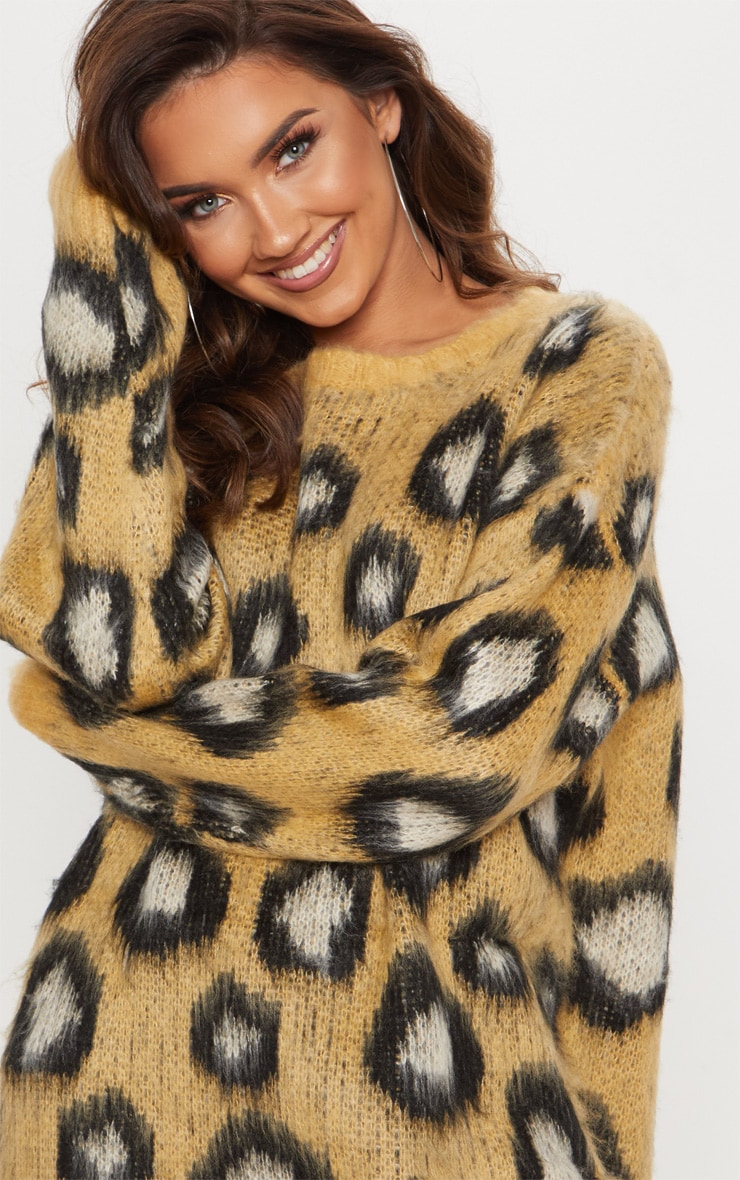 Camel Fluffy Leopard Oversized Sweater  5