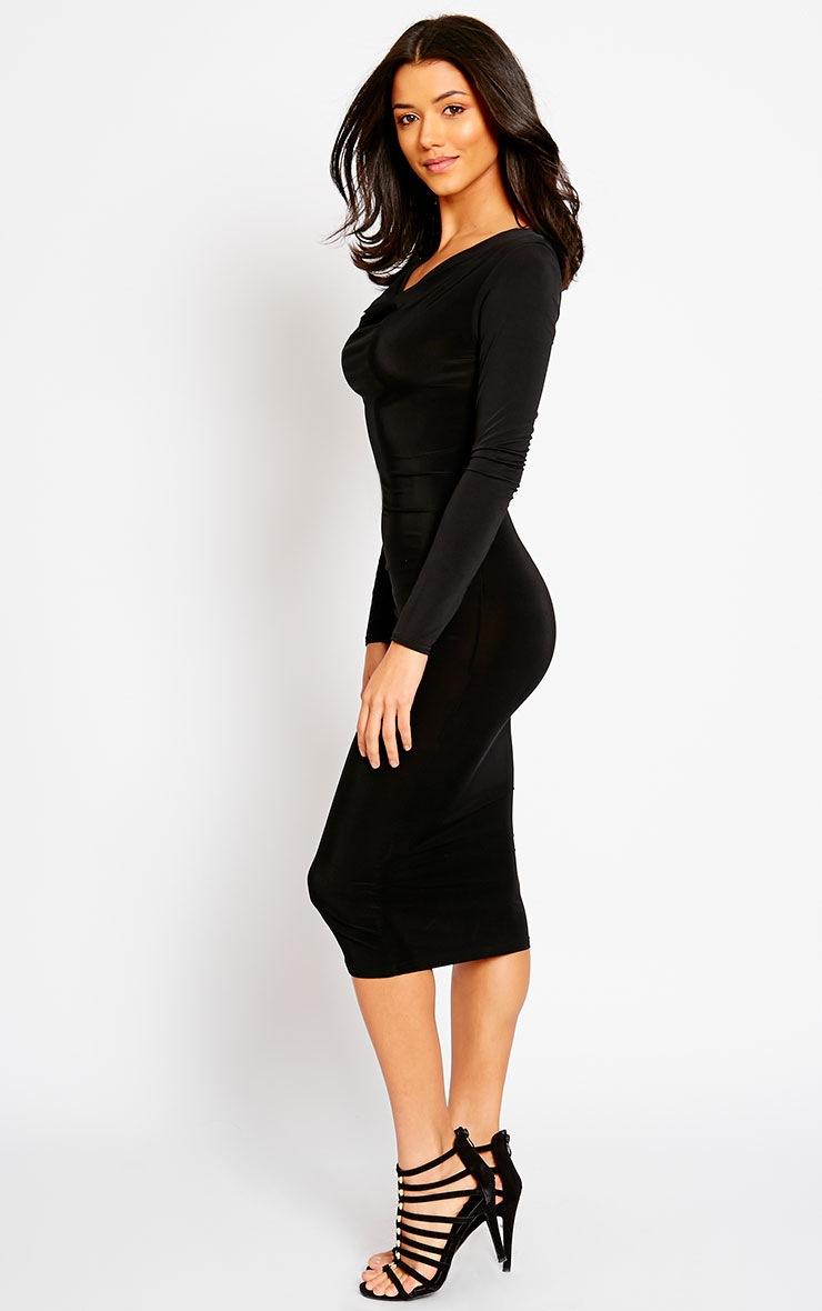 Ziva Black Slinky Cowl Neck Midi Dress 4