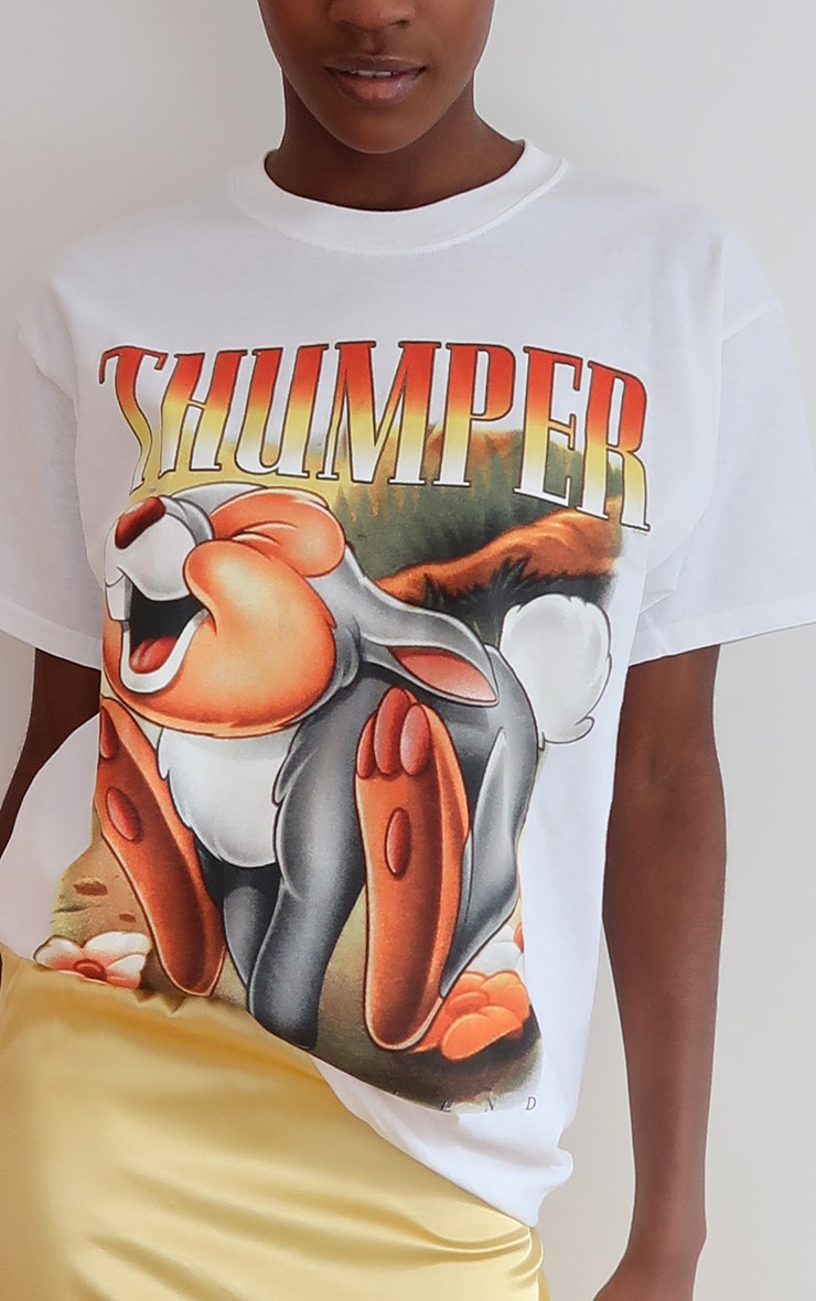 White Disney Thumper Printed T Shirt 4