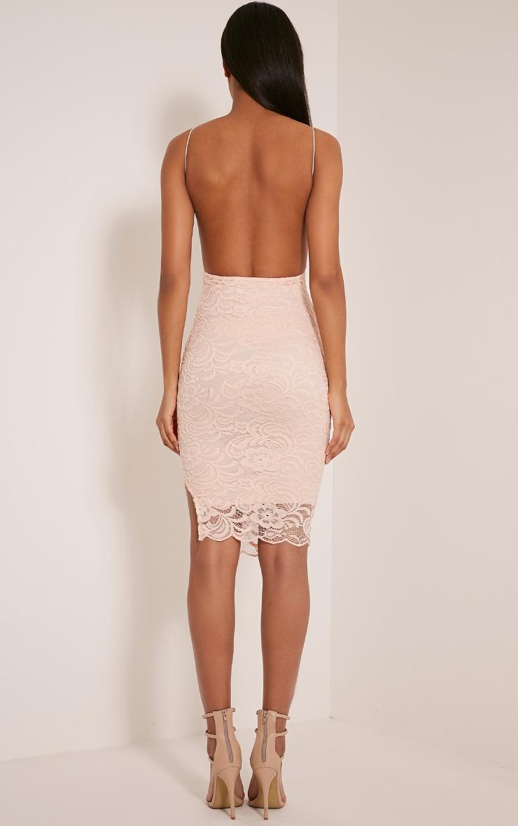Maddie Nude High Neck Lace Midi Dress 2
