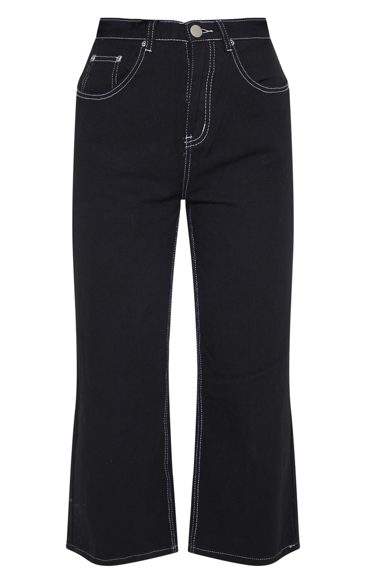 Black Wide Leg Utility Cropped Jeans 3