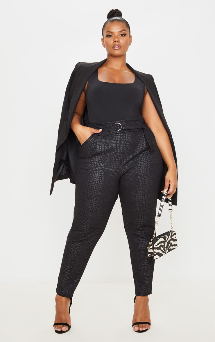 Plus Black Croc Print D Ring Belted Skinny Trousers 1
