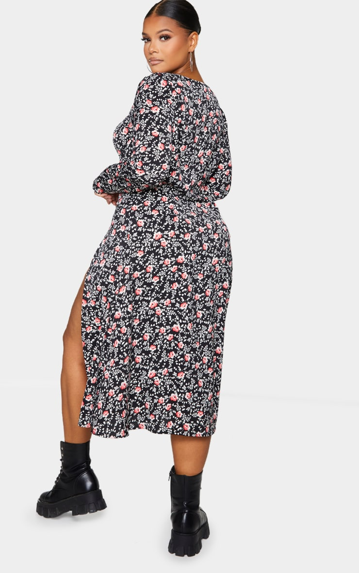 Plus Black Floral Print Cupped Split Detail Midi Dress 2