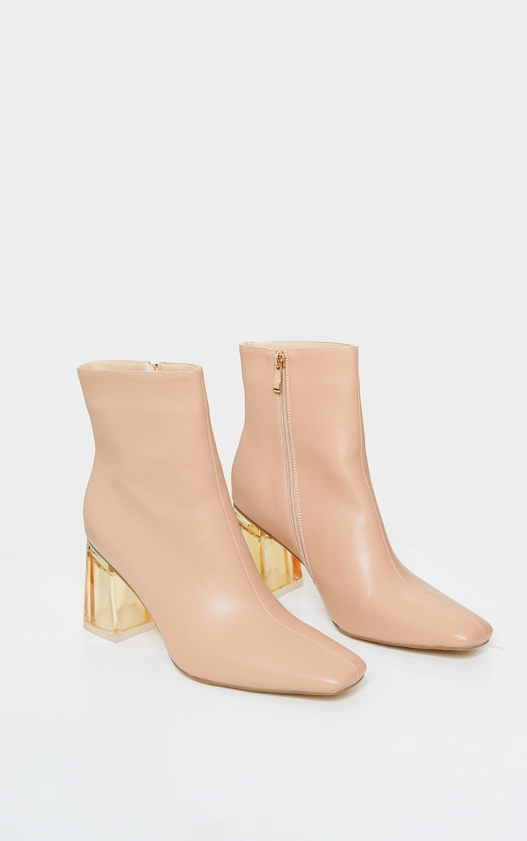 Nude Clear Block Heel Ankle Boot 3