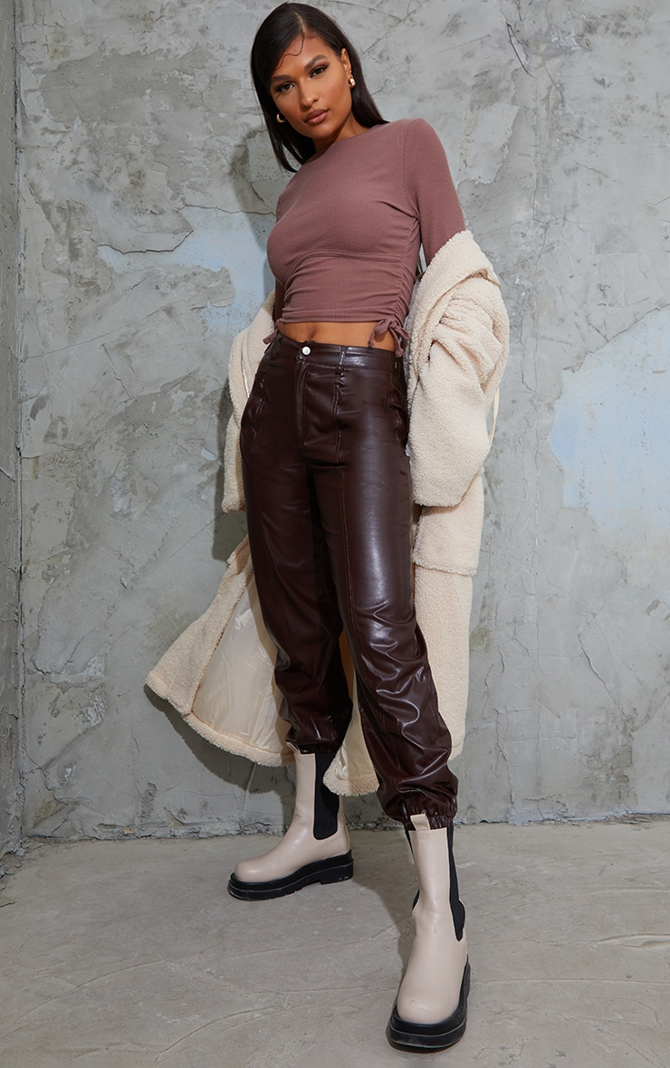 Brown Textured Rib Ruched Side Underbust Crop Top 3
