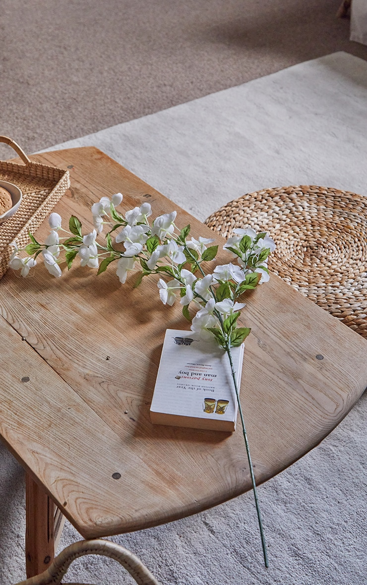 White Silk Bowing Cherry Blossom Stem Artificial Flower 1