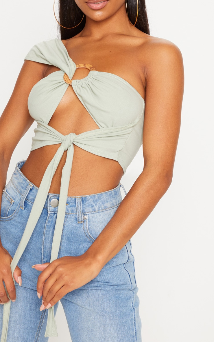 Sage One Shoulder Ring Detail Bandeau Crop 5