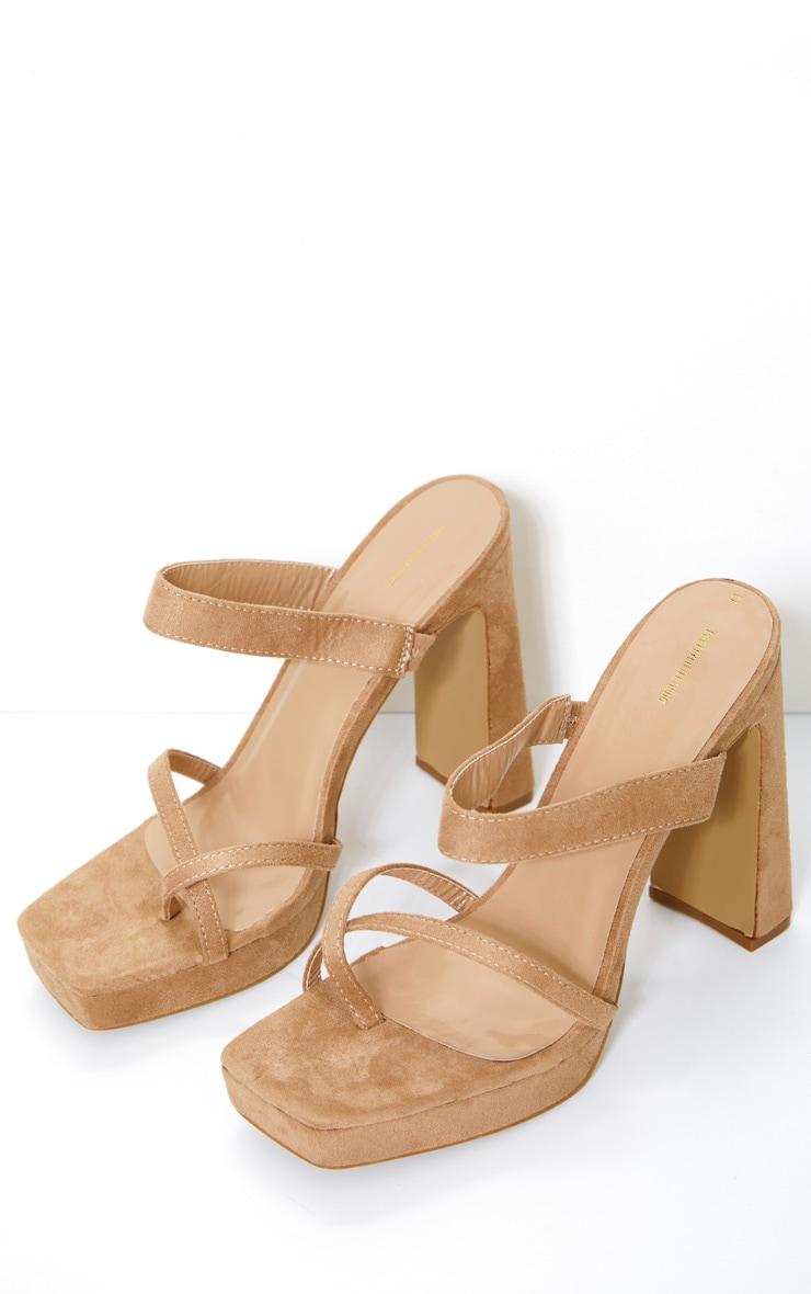Nude Faux Suede Strappy Platform Heels 2