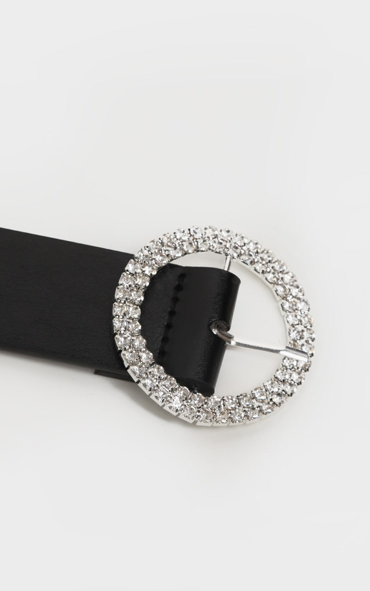 Black Diamante Circle Basic Belt 4