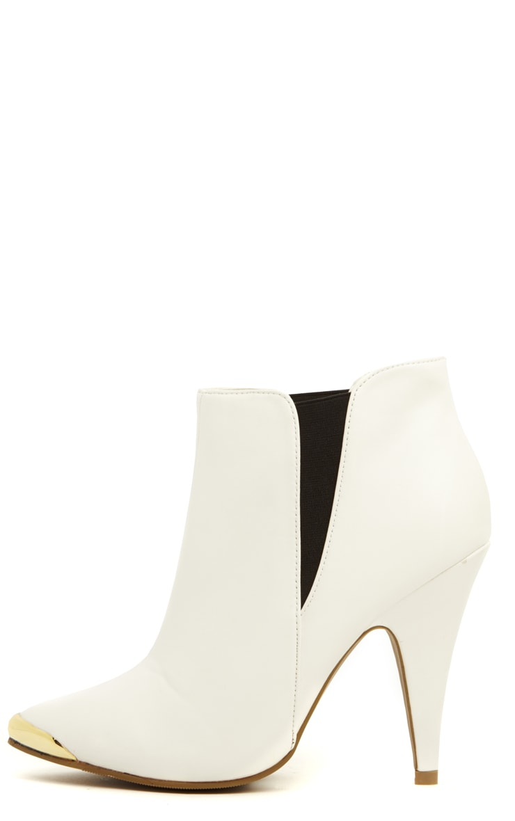 Anastasia White Pu Leather Ankle Boots 1