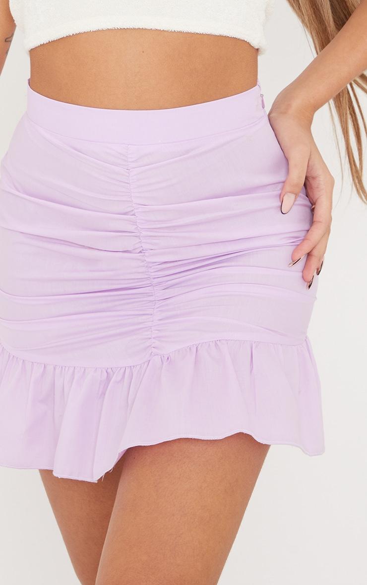 Lilac Woven Ruched Frill Hem Mini Skirt 6
