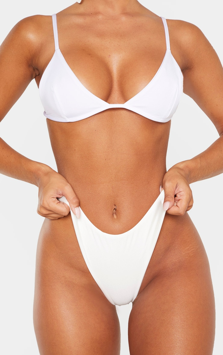 White Mix & Match Super High Leg Brazilian Bikini Bottom 5