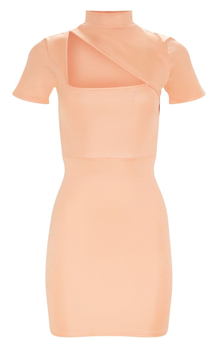 Peach Second Skin High Neck Cut Out Bodycon Dress 3