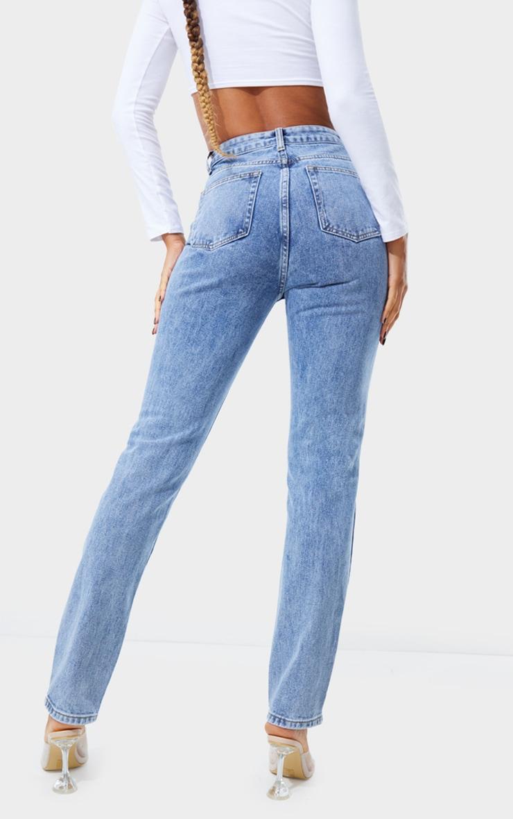 Jean skinny long bleu vintage délavé javélisé 3