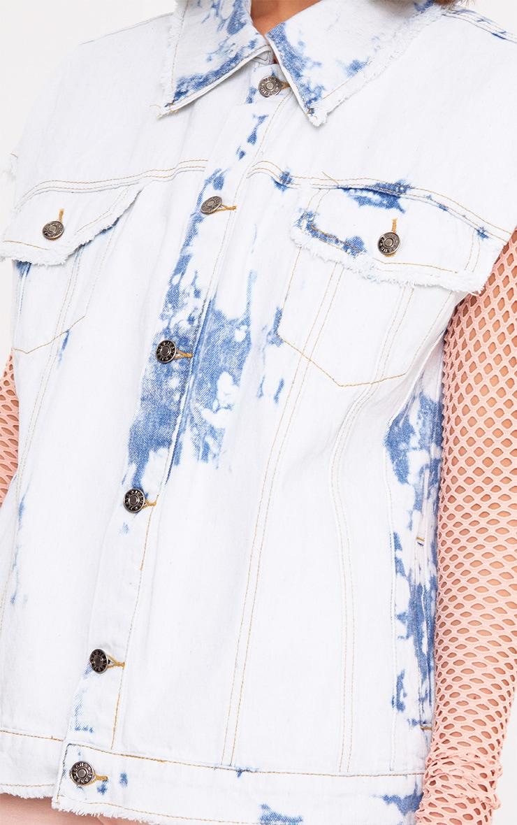 Siann veste en jean sans manches aspect vieilli délavée et blanchie 5