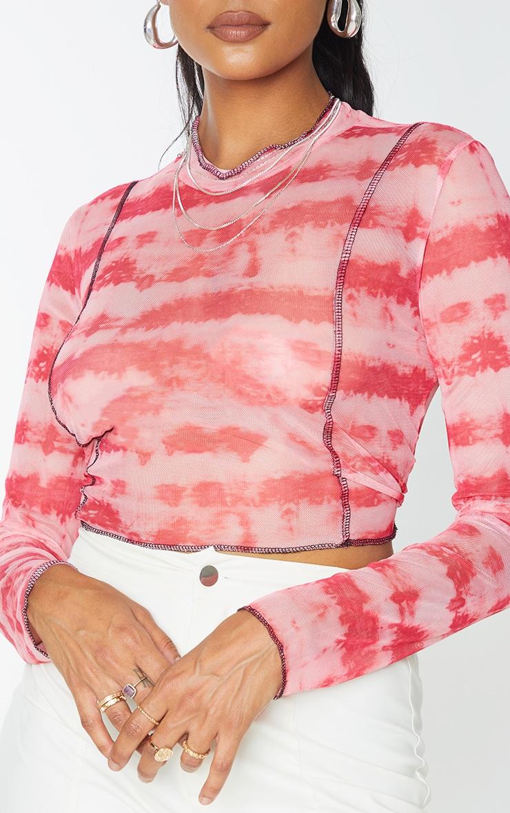 Pink Contrast Seam Tie Dye Print Mesh Long Sleeve Top 4