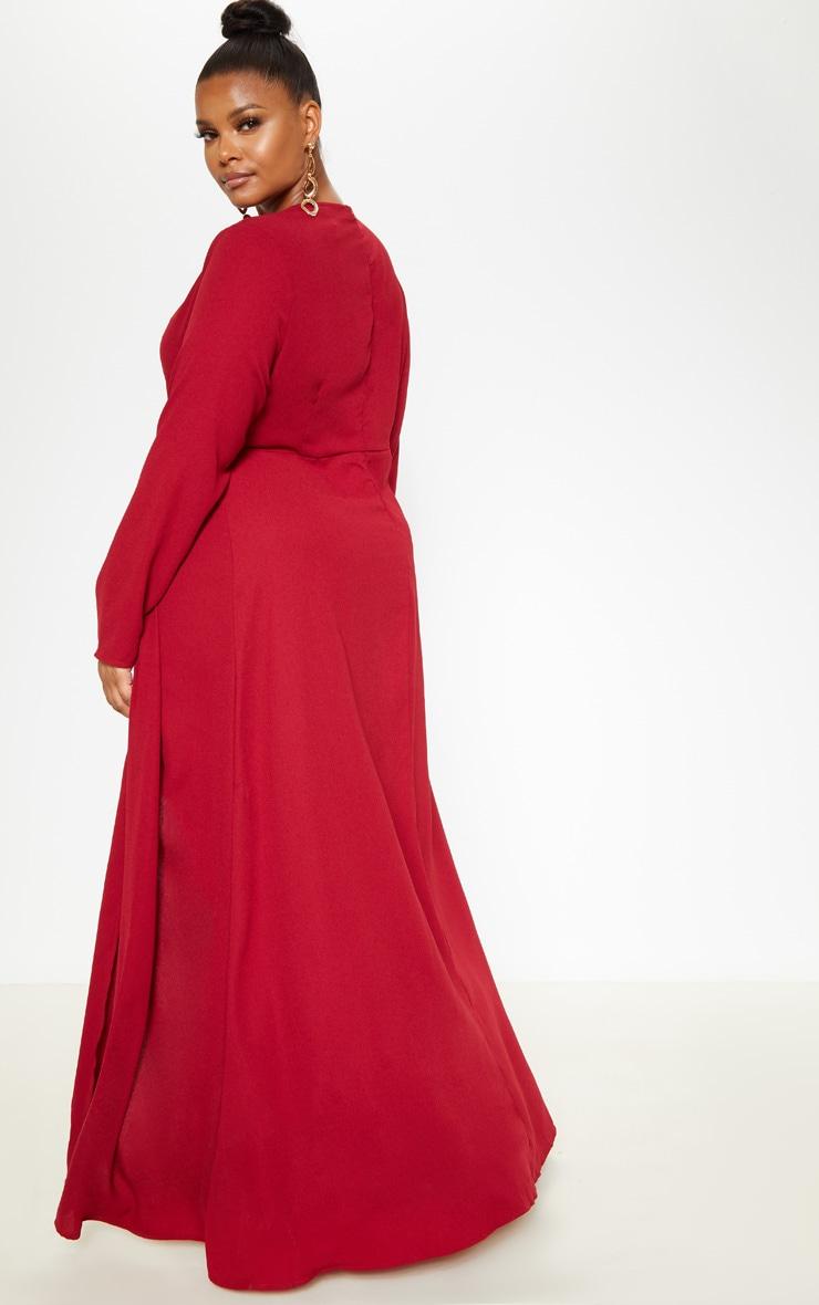 Plus Burgundy Twist Front Maxi Dress 2