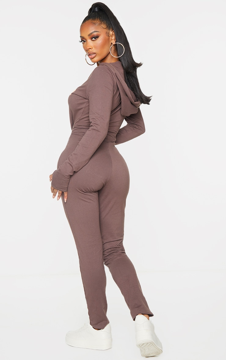PRETTYLITTLETHING Shape Brown Hooded Jumpsuit 2
