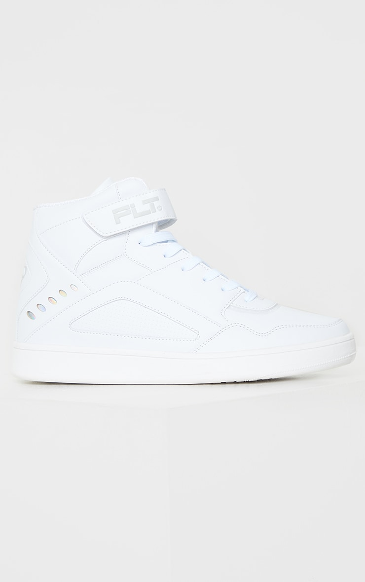 PRETTYLITTLETHING White Strap High Top Trainers 3