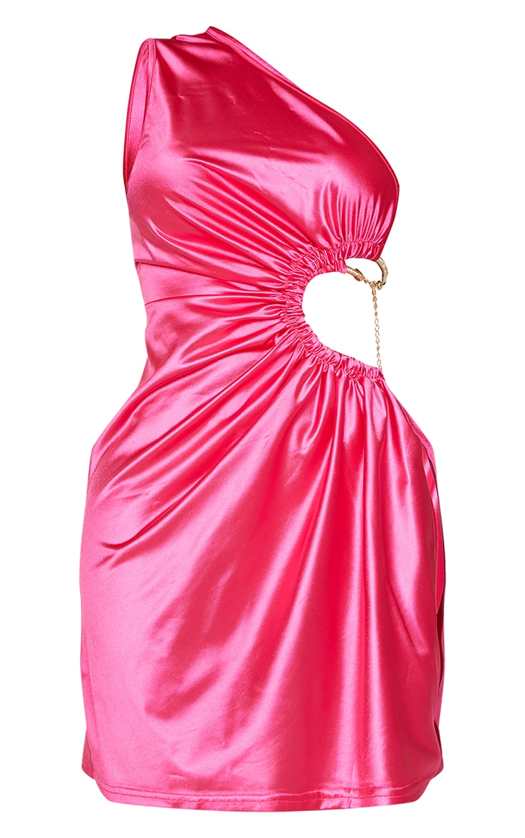 Shape Hot Pink Satin Chain Detail Cut Out Bodycon Dress 5