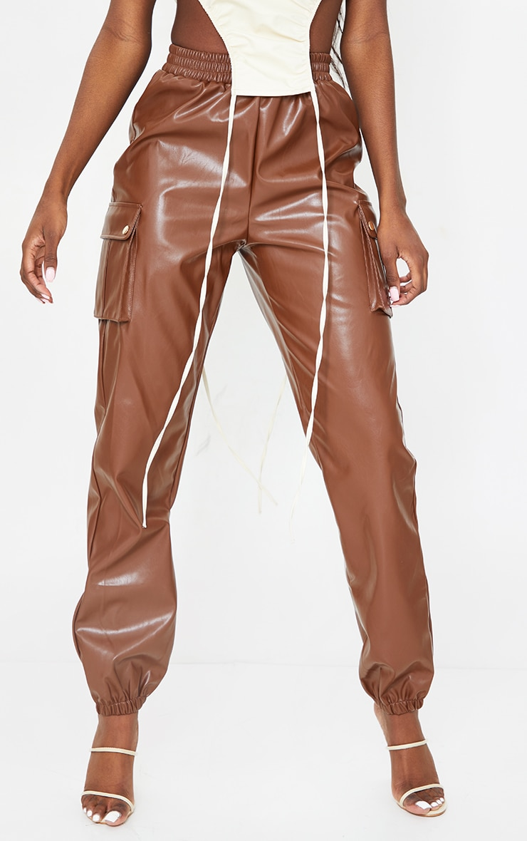 Tall Chocolate Faux Leather Pocket Detail Joggers 2