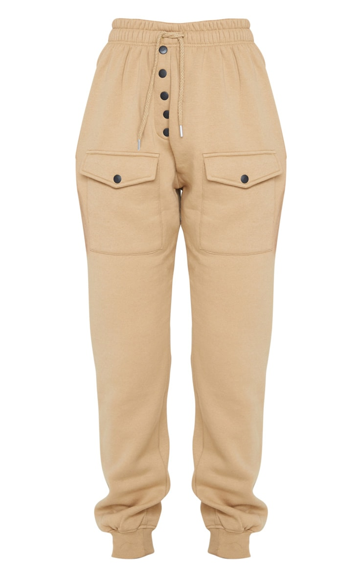 Camel Button Front Pocket Joggers 5